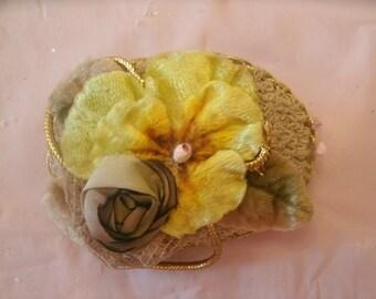"vintage VELVET PANSY yellow pin brooch handmade 3 1/4"""