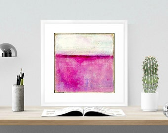 "Abstract Print: 12x12"" Mixed Media print, Contemporary Art print, Abstract Art, Horizon line, bright fuchsia pink (305mm) ""Curiousity"""