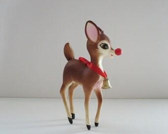 Vintage Reindeer Deer Hard Plastic, Vintage Deer, Kitsch Reindeer, 50s Reindeer Figurine, Kitschmas Reindeer, Holiday Reindeer Decoration