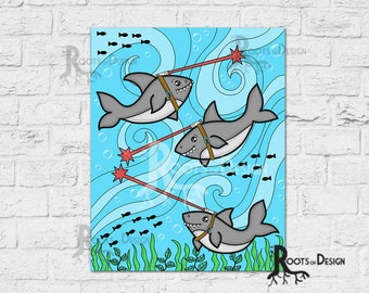 Instant Download - Sharks with Laser Beams on their Heads Instant  Print,  8x10 art prints