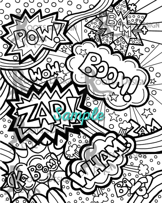INSTANT DOWNLOAD Coloring Page Comic Book Words Pop Art