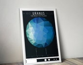 GEEKLOVE SALE Uranus and its Moons // Human Space Exploration Infographic Print with Planetary Mission Timeline // Seafoam and Blue Low Poly