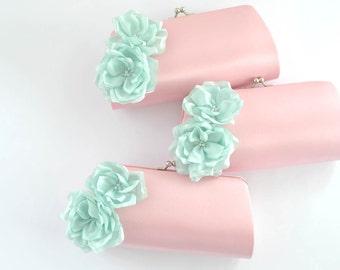 PINK and MINT- Wedding clutch - Custom clutch - Bridal_Bridesmaid_Prom