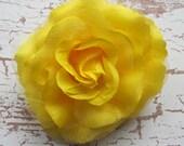 Flamenco Yellow  Rose Hair Flower clip