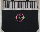 Piano bag, gift idea, personalized music lesson book bag