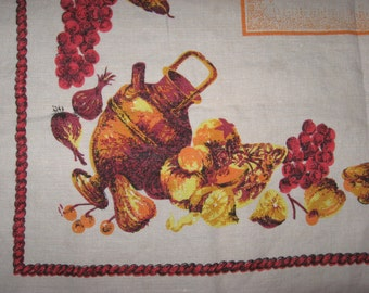 Small natural linen tablecloth mid century vintage beige orange still life fruit autumnal theme