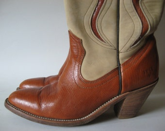 Frye two tone buff suede and sienna lizard print women's vintage leather boots cowboy stack heel SZ 6
