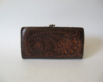 Tooled dark brown leather vintage wallet double kisslock Mexico pocketbook floral motif monogrammed JEH