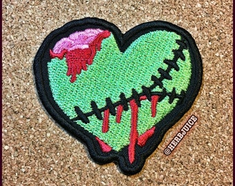 1x Zombie Heart Embroidered Patch