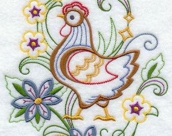 Hen Embroidered Towel     Tea Towel   Kitchen Towel   Embroidered Tea Towel   Dish Towel  