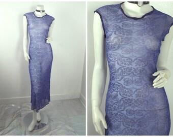 90s MESH sheer purple tribal pattern print maxi body con dress