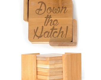 Wooden Square Coasters - Set of 6 with holder - 2597 Down the Hatch