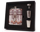 Monogrammed Flasks // Personalized Flasks for Men and Women // Aztec Design A22