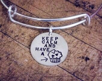 Keep Calm & Have a Cupcake, Sterling Silver, Adjustable Bracelet, Cupcake Love, Hand Stamped, Bangle