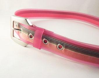 Clear Plastic Belt, Plastic Belt, 1980's Belt, Pink Belt, Pink Striped Belt, Womens Pink Belt, Mod Belt, Silver Buckle Belt, Medium Size