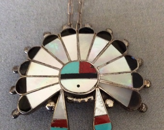 Handcrafted Sterling Turquoise mother of Pearl Native American Indian Brooch Pendant