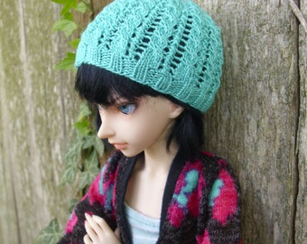 MSD BJD Handknit Teal Lace and Cables Beanie Hat