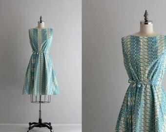 50s Cotton Dress . Sleeveless Blue Eyelet Dress . 1950s Full Skirt Dress