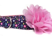 Pink Navy Dog Collar / Dog Collar with Flower / Girl Dog Collar / Navy Floral Dog Collar / Pink Flower Dog Collar / Nylon Webbing Dog Collar