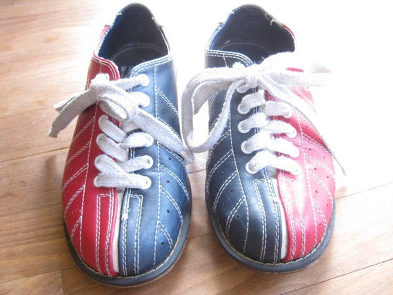 Vintage Cobra Bowling Shoes // Genuine Leather// Red White and