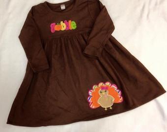 Girls Cotton Thanksgiving Gobble Turkey Dress