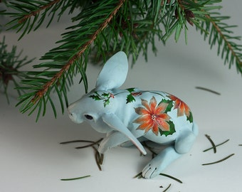 Light blue poinsettia rabbit. Polymer clay miniature by Madre Olius