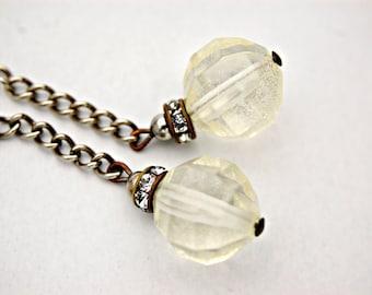 Clear Lucite Earrings - Long Dangle Earrings - Silver Long Chain Earrings - Clear Ball Earrings - Upcycled Jewelry
