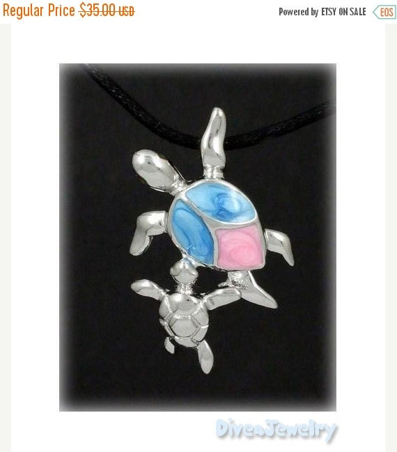 SALE Mother and Baby Sea Turtle Sterling Silver Pendant Necklace