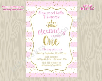 Pink and Gold Princess Birthday party invitation invite 1st birthday, picture photo, confett, princess 1st birthday, printable digital DIY