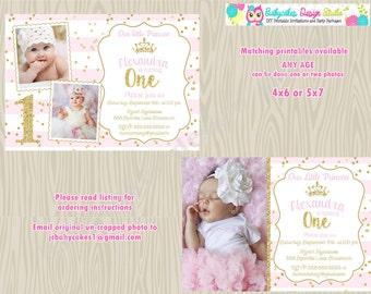 Princess 1st Birthday Invitation invite, pink and gold birthday invitation invite, sparkle and shine, photo picture, DIY