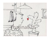 Coloring Valentine's Card- Love Cactus woman drawing people gift paper