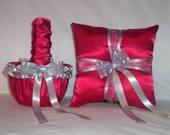 Red Satin With Silver Ribbon Trim  Flower Girl Basket And Ring Bearer Pillow Set 2