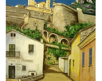 MONACO Retro, Castle Palace, The Rock, Street, Principality of Monaco, Original illustration Artist Print Wall Art, Free Shipping in USA.
