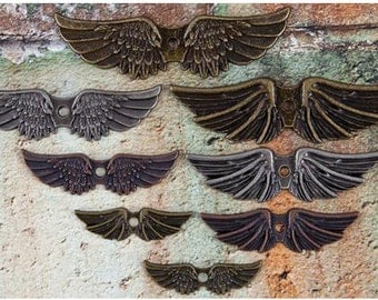 Angel Wing Charms Pendants Assorted Antiqued Silver Copper Bronze Pendants 8 pieces