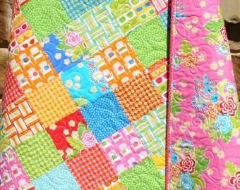Beach Quilt, Baby Girl Sanibel Hawaiian Flowers Hibiscus, Modern Designer Blanket, Nursery Crib Cot Bedding, Beach Ocean Summer Quilt