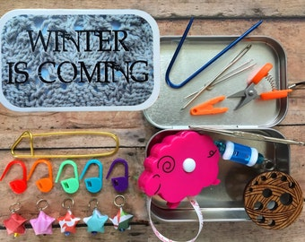 Winter is Coming: Game of Thrones themed Knitter's Tool Tin for handknitting on the go!