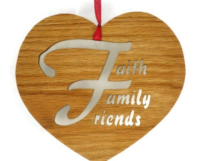 Faith Family & Friends Heart Shaped Wall Hanging Decor Handmade From Oak Wood