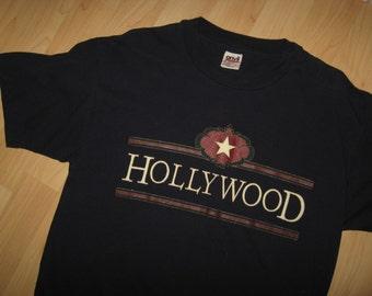 Hollywood CA 80's Tee - Vintage 1980's California USA Star Walk Fame T Shirt Lrg