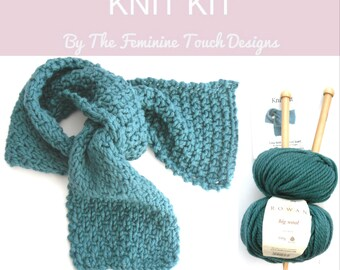 Luxury Wool Scarf Knit Kit , textual scarf , easy knitting kit , mothers day  gift ,  hand knit scarf ,  wool knit , craft gift ,  diy kit