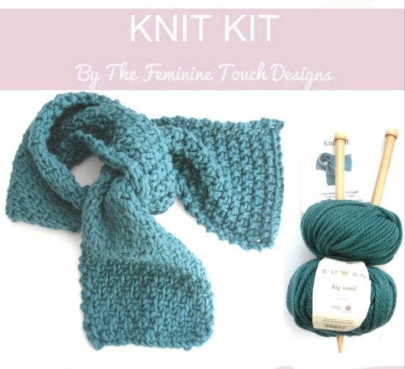 Knitting Pattern Wool Kits : Luxury Wool Scarf Knit Kit easy knitting kit by TheFeminineTouch