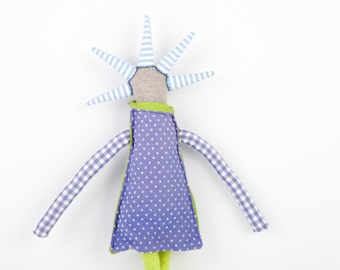 stuffed doll - ooak gray modern rag doll - hip handmade doll With spikes haircut wearing blue dotted dress and green tights - handmade doll