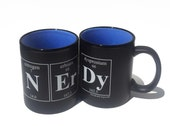 NERDY Periodic Table Coffee Cup - Chemistry Themed Coffee Mug - Matte finish with Sky Blue interior