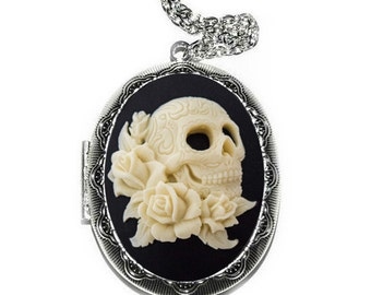 Day of the Dead Skull Locket Necklace