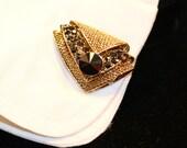 Cuff Links, Gift for Him, Black, Onyx, Gold, Elegant, Wedding, Tuxedo, Repurposed, Vintage, Groom Cuff Links, Unisex, Jennifer Jones, OOAK