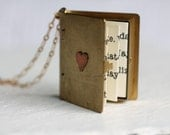 Large Book Locket ... Secret Message Personalised Book Lover's Gift