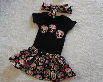Olivia Paige - Little sugar skull rockabilly punk rock outfit/ bodysuit  Tattoo with headband
