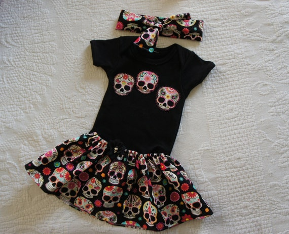 Olivia Paige - Little sugar skull rockabilly punk rock outfit/ bodysuit Tattoo with headband