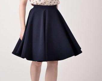 ON SALE Navy blue skirt, custom made skirt, custom made circle skirt.