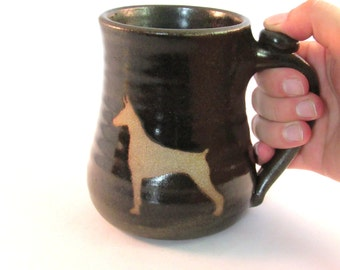 Dog Coffee Cup - Doberman Mug - Pet Mug - Handmade Pottery - Pottersong - Pet Silhouette - Silhouette Art - Dark Walnut Brown