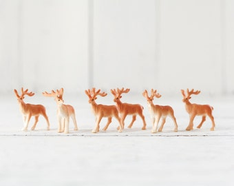 Reindeer Figurines - 6 Miniature Plastic Deer for Crafts